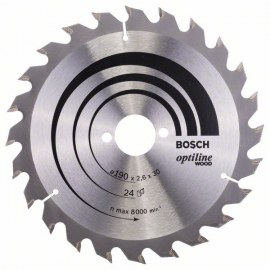 Griešanas disks kokam Bosch OPTILINE WOOD; 190x2,6x30,0 mm; Z24; 15°