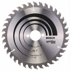 Griešanas disks kokam Bosch OPTILINE WOOD; 190x2,6x30,0 mm; Z36; 15°
