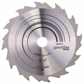 Griešanas disks kokam Bosch SPEEDLINE WOOD; 160x2,4x20,0 mm; Z12; 15°
