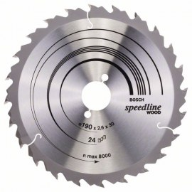 Griešanas disks kokam Bosch SPEEDLINE WOOD; 190x2,6x30,0 mm; Z24; 15°