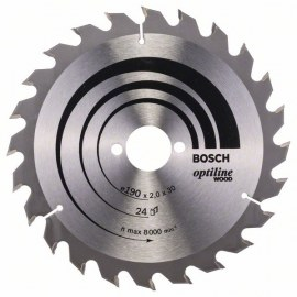 Griešanas disks kokam Bosch OPTILINE WOOD; 190x2x30,0 mm; Z24; 15°
