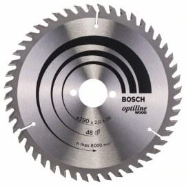 Griešanas disks kokam Bosch OPTILINE WOOD; 190x2x30,0 mm; Z48; 15°