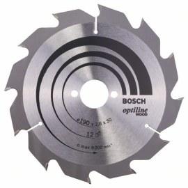 Griešanas disks kokam Bosch OPTILINE WOOD; 190x2,6x30,0 mm; Z12; 15°