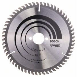 Griešanas disks kokam Bosch OPTILINE WOOD; 190x2,6x30,0 mm; Z60; 15°