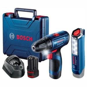 Urbjmašīna-skrūvgriezis Bosch GSR 120-Li; 12 V; 2x2,0 Ah akum. + prožektors GLI 12V-300