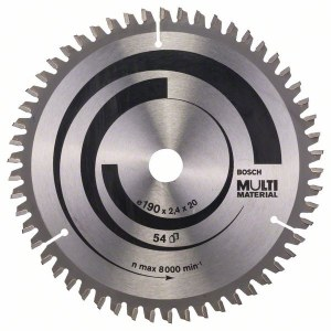 Griešanas disks kokam Bosch MULTI MATERIAL; 190x2,4x20,0 mm; Z54; -5°
