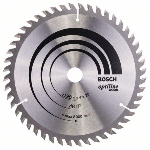Griešanas disks kokam Bosch OPTILINE WOOD; 190x2,6x20,0 mm; Z48; 15°