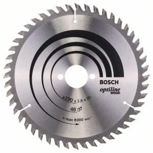 Griešanas disks kokam Bosch OPTILINE WOOD; 190x2,6x30,0 mm; Z48; 15°