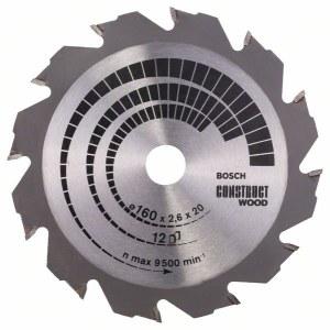 Griešanas disks kokam Bosch CONSTRUCT WOOD; 160x2,6x20,0 mm; Z12; 12°