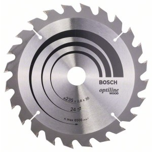 Griešanas disks kokam Bosch OPTILINE WOOD; 235x2,8x30,0 mm; Z24; 15°