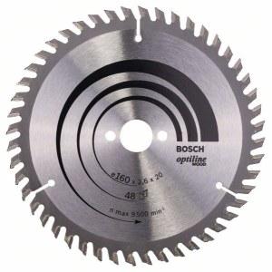 Griešanas disks kokam Bosch OPTILINE WOOD; 160x2,6x20,0 mm; Z48; 15°