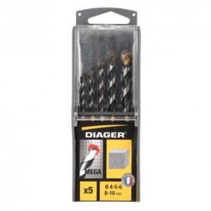 Betona urbju komplekts Diager; 4/5/6/8/10 mm; 5 gab.