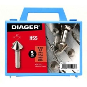 Konisks padziļinātājs Diager 504C;  8,3/10,4/12,4/16,5/20,5 mm; 5 gab.