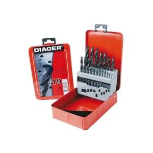 Metāla urbju komplekts Diager 775D; 1-10 mm; 19 gab.