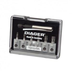 Skrūvgriežu uzgaļu komplekts Diager U642C; TX; 6  gab. +  turētājs