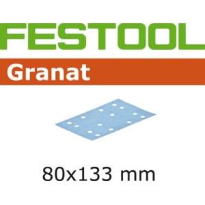 Daudzfunkcionālajām orbitālajām slīpmašīnām paredzētā smilšpapīra loksnes Granat; 80x133 mm; P80; 10 gab.