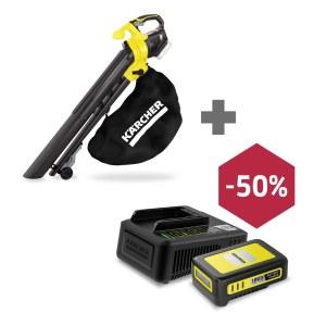 Akumulatora lapu sūcējs-pūtējs Karcher BLV 18-200; 18 V (ilma aku ja laadijata) + Karcher Power 18 V; 2,5 Ah + + Ātra lādētāja jauda Power