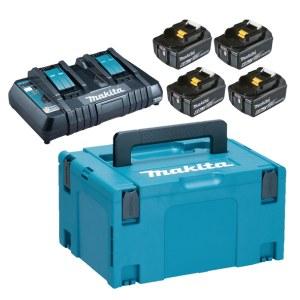 Piederumu komplekts Makita Powerpack; 18V; 4x6,0 Ah + DC18RD