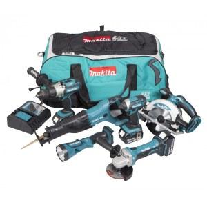 Instrumentu komplekts Makita DLX6043T (DTD152 + DHP451 + DSS610 + DGA452 + DJR186 + DML185); 18 V; 3x5,0 Ah akum.