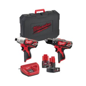 Instrumentu komplekts Milwaukee (M12BPD + M12BID); 12 V; 2,0/4,0 Ah akum.