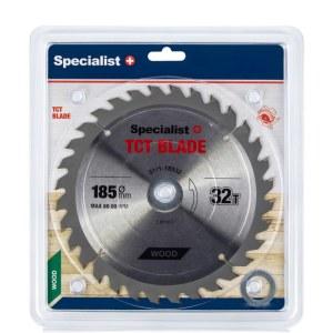 Griešanas disks kokam Specialist Wood; 185x1,4x30/20/16 mm; Z32